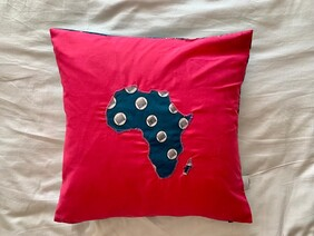 Map of Africa Circles Cushion Cover in Fuschia Pink