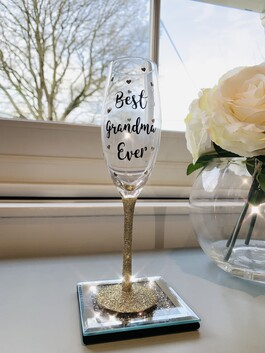 'Best Grandma Ever' Glitter Prosecco Glass