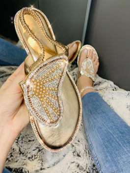 Mia Crystal Butterfly Sandals Rose Gold