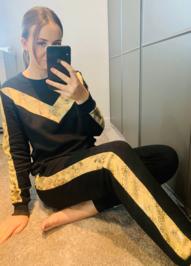 Black Snake Print Loungewear Set