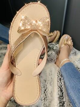 Ava Crystal Bow Flip Flops Rose Gold