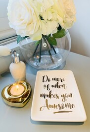 'What makes you awesome' rectangular trinket dish