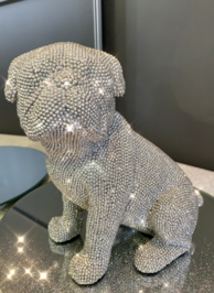 Sparkly Diamante Sitting Pug