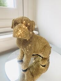 Sparkly Diamante Sitting Pug Gold
