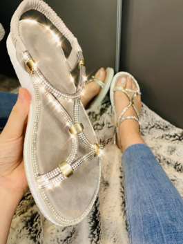 Mollie Crystal Chain Sandals Silver