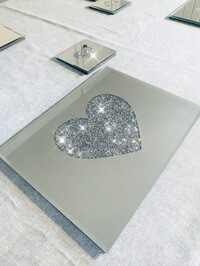 Mirrored Crystal Heart Coasters and Placemats