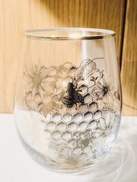 Bee Honeycomb Stemless Wine Glass