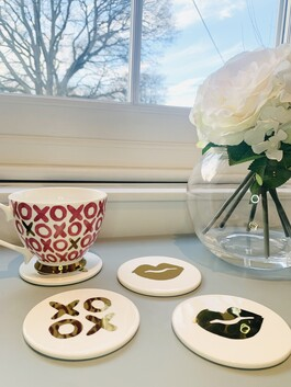 Lips & XOXO Ceramic Coasters