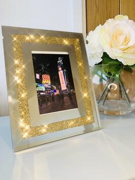 "Gold Crystal Mirror Frame 5x7"""