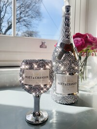Crystal Glitz Bottle & Glass Ornament