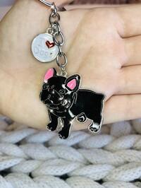French Bulldog Keyring Black
