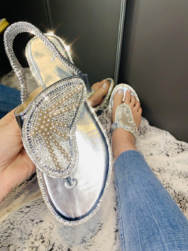 Mia Crystal Butterfly Sandals Silver