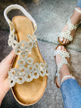 Lillian Crystal Wedge Sandals Silver