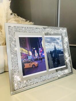 """Crystal Glitz Duo Mirror Frame 4x6"""""""