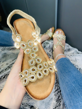 Lillian Crystal Wedge Sandals Rose Gold