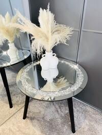 Mirrored Crystal Circle Table Black Medium - Limited Edition