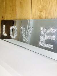 Mirrored Crystal Love Plaque