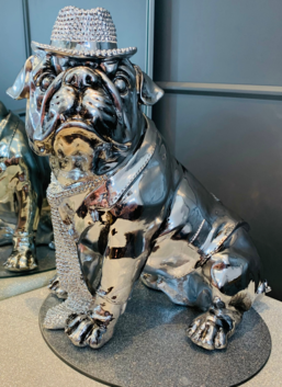 Bulldog With Sparkly Hat & Tie