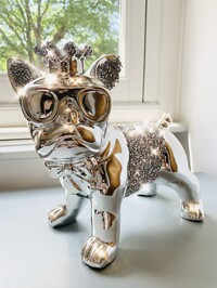 Electroplated Crystal Crown Standing French Bulldog