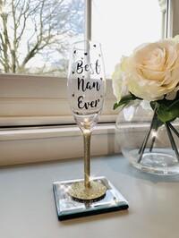 'Best Nan Ever' Glitter Prosecco Glass