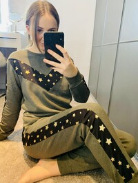 Khaki Gold Star Loungewear Set