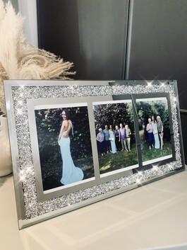 """Crystal Glitz Trio Mirror Frame 4x6"""""""