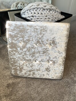 Crystal Velvet Storage Box Grey