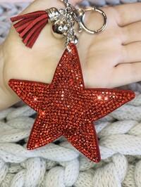 Crystal Star Keyring Red
