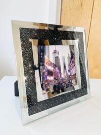 "Black Crystal Mirror Frame 4x4"""