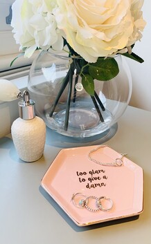'Too glam to give a damn' hexagon trinket dish