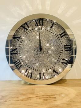 Crystal Glitz Round Clock Small