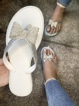 Ava Crystal Bow Flip Flops White