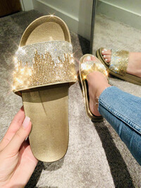 Skye Ombre Crystal Sliders Gold
