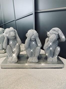 Sparkly Diamante Three Wise Monkeys