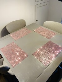 Crushed Diamond Placemats Pink & Silver