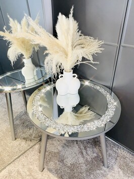 Mirrored Crystal Circle Table Xtra Large