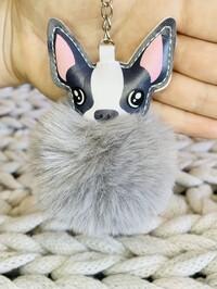 Fluffy French Bulldog Keyring Grey