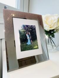 "Rose Gold Glitter Mirrored Frame 6x8"""