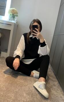 White & Black Shirt Detail Loungewear Set