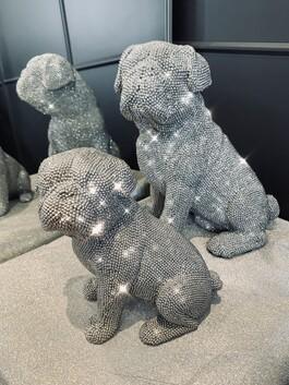 Sparkly Diamante Sitting Pug Small & Large