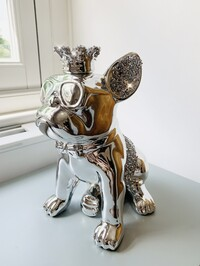 Electroplated Crystal Crown Sitting French Bulldog