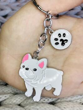 French Bulldog Keyring White