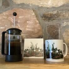 Snowdrop Cluster Ceramic Mug and Coaster Set