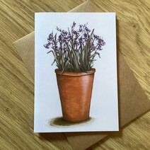 Pot of Bluebells Greetings Card